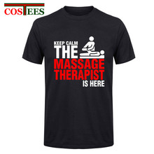 Large Size XXXL Keep Calm The Massage Therapist Is Here Men Man's Tee Shirt Funny Short Sleeve Father's Day Custom Party T shirt(China)