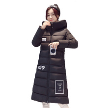 B1388 2017 autumn winter new Women's han edition thickening big yards long paragraph cotton-padded jacket coat cheap wholesale(China)
