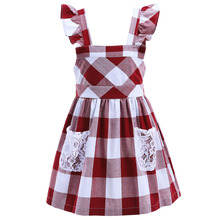 Pettigirl New Arrival Red Girl Lace Dress Sleeveless Kids Fancy Plaid Dresses Summer Children Boutique Clothing CMGD90409-328R(China)