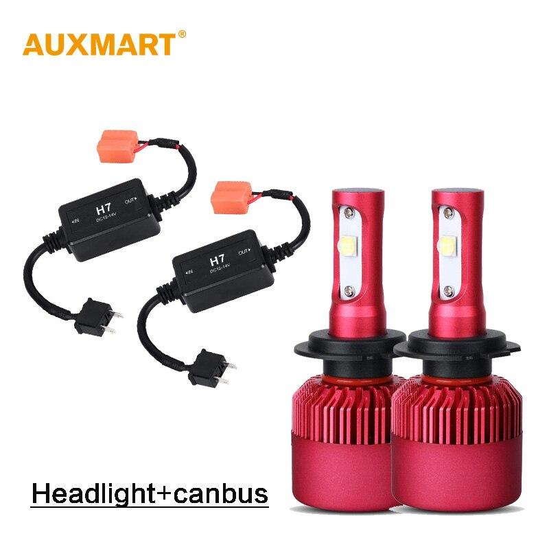 Auxmart G9 H7 Dipped Beam Car LED Headlight Kit SMD 80W 9600lm 6500K Fog Light 12v 24v LED Headlamps DRL + H7 CANBUS Error Free<br><br>Aliexpress