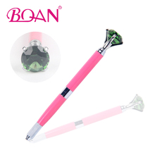 2017 New 1PC Pink Manual Tattoo Pen Permanent Makeup Machine Big Green Crystal Dual Head Microblading Pen