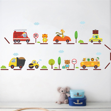 Animals City Bus Stop Cars Transportation Wall Stickers for Kids Bedoom Decor Nursery Safari decals Mural Art Diy Home Decor(China)