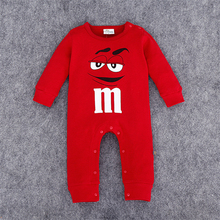 Baby Clothing New Newborn Baby Boy M&M's Character Girl Romper Clothes Long Sleeve 4 Colors Infant Product
