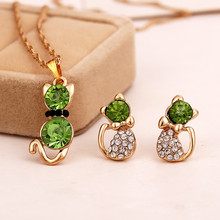 Fashion Girl's Lovely Jewelry Sets White /Gold color color Kitten Shape Austrian Crystal  Necklace Earrings Free Shipping