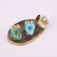 3PCS Zyunz Multicolor Geode Ring Golden Electroformed Freeform Drusy Quartz stone Rings jewelry for women(China)