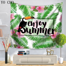 YO CHO Dorm Room Tapestry Palm Tree Banana Leaf Wall Hanging Enjoy Summer Room Dividers College Dorm Accessories Beach Towel(China)