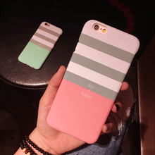 Luxury Stripe Dull Polish Lovers Cover For iphone 5 5S SE 6 6S Plus Hard PC Phone Cases Protector life happy Phone Bags YC1939(China)