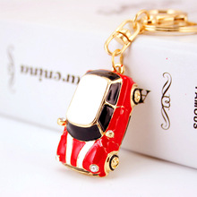 Dalaful Cute Enamel Car Key Chains Holder Crystal Rhinestone HandBag Pendant Fashion Keyrings Keychains K242