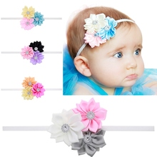 4pcs/lot Baby Satin Ribbon Flower Headband Colorful Girl Children Infant Baby Hairband Hair Accessories Elasticity  H32