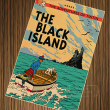 Black Island The Adventures of Tintin Cartoon Poster Vintage Retro Poster Canvas Painting DIY Wall Paper Posters Home Gift Decor(China)