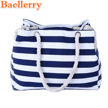 Baellerry 2017 Women Travel Shopping Bags Summer Beach Big Shoulder Bags Ladies Large Capacity Canvas Striped Messenger Tote Bag