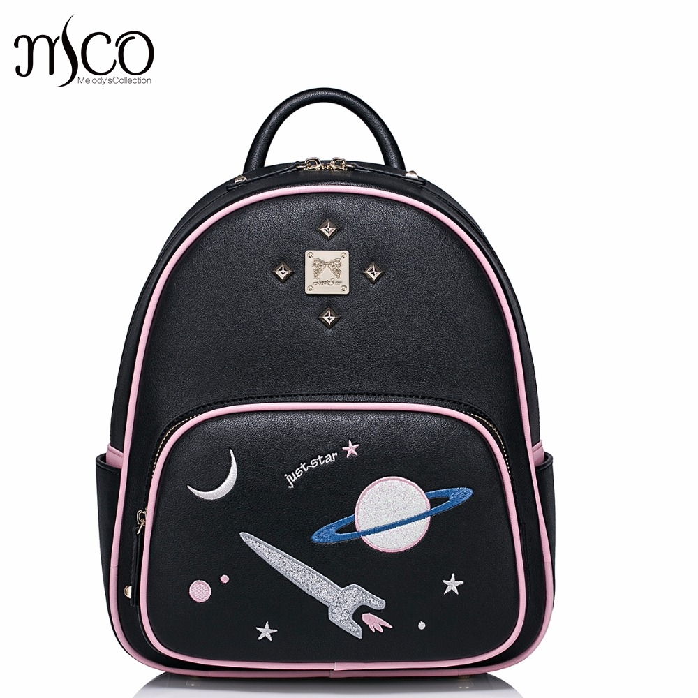 Brand Design Interstellar Space Embroidery Rivets PU Women Leather Ladies Backpack Shoulders School Travel Bags Student Daypack<br><br>Aliexpress
