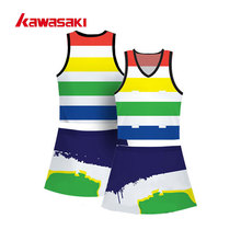 Perfessional Kawasaki Custom Practice Netball Tennis Dress Sublimation Rainbow Color Breathable Women Exercise Sports Shirts(China)