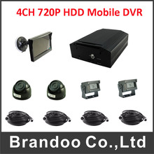 4CH HDD realtime Mobile Car DVR Video Recorder motion detection Record + 4 x AHD camera + 5.0 inch Monitor(China)