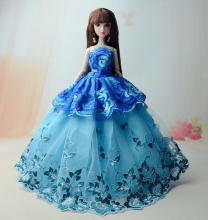 NK 1 Pcs 2017 Princess Wedding Dress Noble Party Gown For Barbie Doll Fashion Design Outfit Best Gift For Girl' Doll 011I