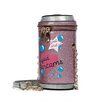 Women Novelty round shinning personalized drink bottles modeling narrow  unicorn tears phone clutch bag lovely small bucket