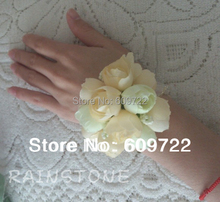 Handmade  Fabric 10pcs Boutonniere Wedding Church Decor Artificial Rose Wrist Corsage Flower Bracelet Champage FL834