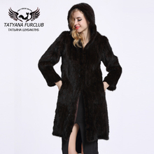Women Genuine Knitted Mink Fur Jackets Coats Real Natural Furs Long Hood Fashion Outerwear Slim Style BF-C0117(China)