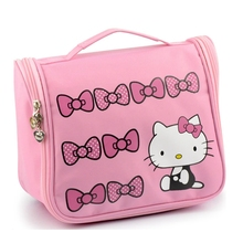 Women Travel Portable Cosmetic Bag Cartoon Hello Kitty Zipper Makeup Bag Organizer Make Up Storage Pouch Toiletry Case