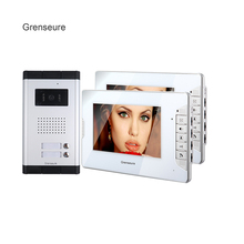 "FREE SHIPPING 7"" Color Video Intercom Apartment Door Phone System 2 Monitors + 1 Doorbell Camera For 2 House Family Wholesale(China)"