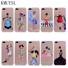 KMUYSL Back Cases cover For iphone 6 6s 6 Plus 5 5s SE 7 8 plus Modern Fashion Shopping Girls Patterns Soft TPU Cases Slim funda(China)
