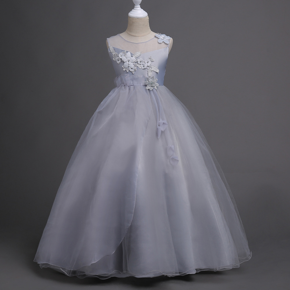 Children Clothing 5 6 7 8 9 10 11 12 13 14 Years Kids Glitz Tulle Flower Pageant Gowns Girl Dress Grey White Pink Lavender<br>