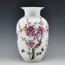 Mini delicate chinese famille rose porcelain flower vase birds and flower for home decor(China)