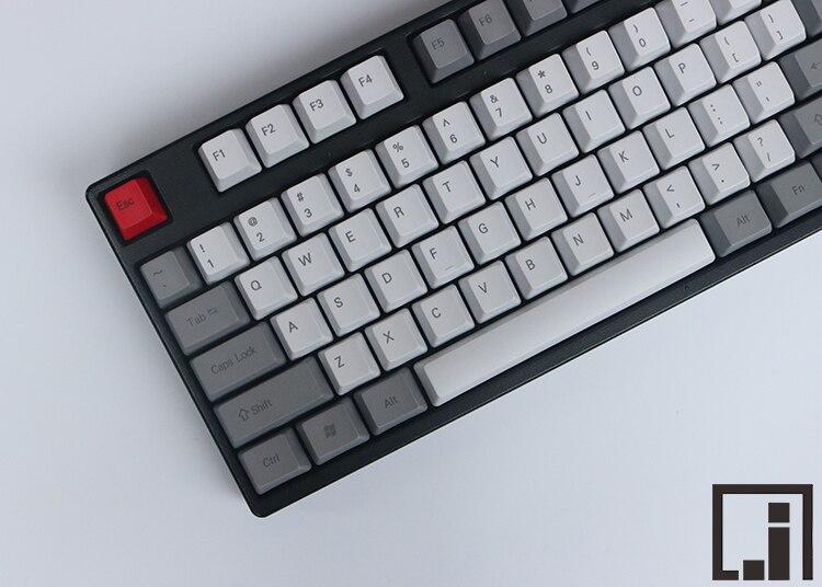 1976 keycaps mechanical keyboard thick PBT keycap cherry mx  OEM height side print grey white similar granite  87 104 keycaps <br>