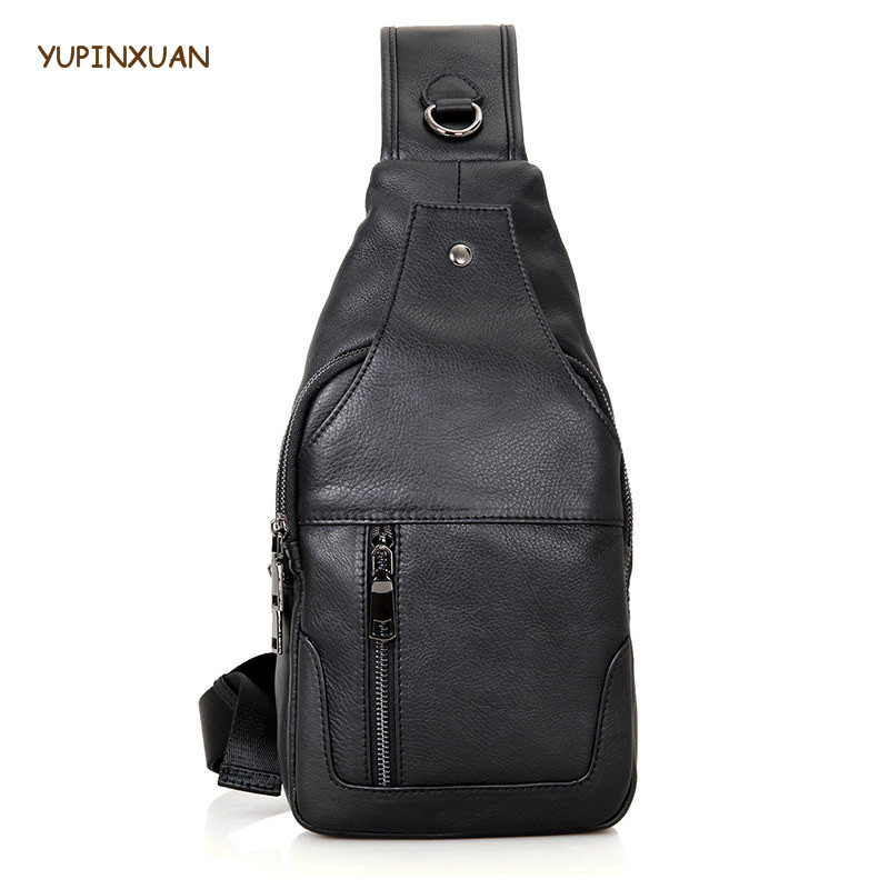 YUPINXUAN Mens Cow Leather Chest Bags Genuine leather Bolsa Pecho Hombre Cowhide Crossbody Bag Real Leather Shoulder Bag Male<br>