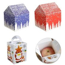 5Pcs Snow Small House Christmas Gift Wrapping Box Cartoon Santa Claus Mini Gift Packing Box Christmas Apple Case Candy Box 3