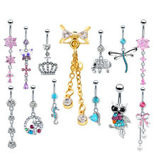 Buy 1PC Steel Navel Piercing Belly Button Rings Crystal Piercing Ombligo Navel Earring Gold Belly Piercing Sexy Body Jewelry Pircing for $1.14 in AliExpress store