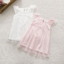 Factory Price! Baby Kid Girls Sleeveless Dress Gauze Sequins Dress Summer Party Tutu Dresses