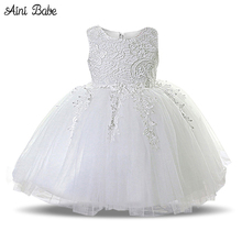 Aini Babe Lace Princess Girl Communion Dress Little Bridesmaid Wedding Pageant Dresses Elegant Evening Party White Girls Clothes