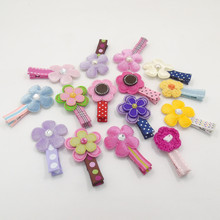 15pcs/lot Felt Flower Hair Clips with Crystal Dots Stripped Plaid No SlipKid Hairpin Woolen Knitted Floral Fairy Girl Barrette(China)