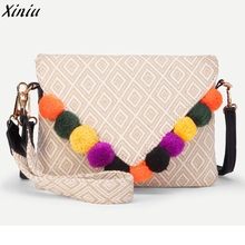 Women Messenger Hairball Retro Geometry Shoulder Bag Clutches Crossbody Bag Tote designer handbags high quality mini handbags(China)