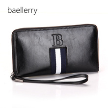 Baellerry Mens' England Style Split Leather Wallet Male Large Zipper Clutch Purse Casual  Wallet with Strap for Men