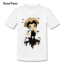 children's Toddler Tee Shirt T Shirt Bendy And The Ink Machine Infant Pure Cotton Boy Girl 2018 T-shirt Round Neck Kid Tshirt(China)