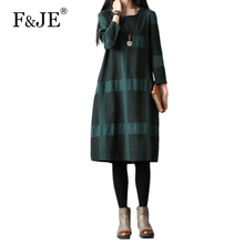 F&JE Spring&Autumn Arts Style Women long sleeve Loose Dress all-matched Casual cotton linen Vintage Knee-length Plaid Dress S359(China)