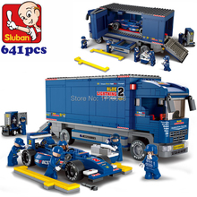 F1 Transport Truck Racing car Sluban Juguetes Models Building Block GOOD for Children develop their ability