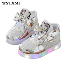Little Girls Led Lights Shoes Children Glowing Flashing Sneakers Luminous Kids Princess Shoes With Up Toddler Lovely Flat Boots