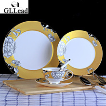 GLLead European Fashion Bone China Dishes Hotel Restaurant Cutlery Home Tableware Cake Dessert Plate Coffee Tea Cup Saucer Set(China)