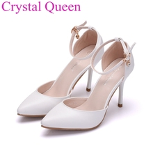 Crystal Queen thin heels pointed toe women shoes sandals sexy high heels white pumps party wedding shoes 9cm pointed toe sandals