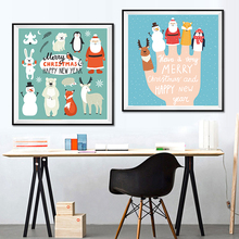 Modern Nordic Kawaii Animals Snowman Merry Christmas Prints Poster Cartoon Wall Pictures Canvas Painting Nursery Decor No Frame