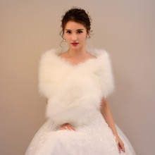 Autumn Winter Wedding Bolero Women Faux Fur Cape Solid Color Fur Stole Collar Bridal Jacket Wedding Accessories