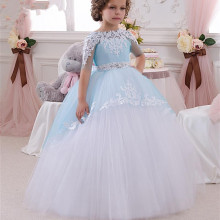 Blue 2017 Flower Girl Dresses For Weddings A-line High Collar Tulle Lace Beaded First Communion Dresses For Little Girls