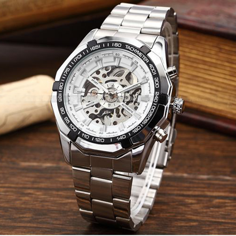 New Arrival WINNER Sport Stainless Steel Wristwatch Hollow Dial Automatic Self Wind Men Mechanical Watch For Gift<br><br>Aliexpress