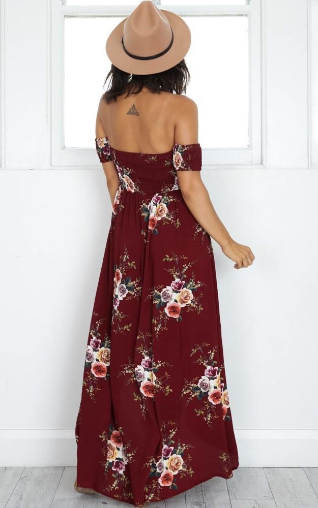 LOSSKY Off Shoulder Vintage Print Maxi Summer Dress 33