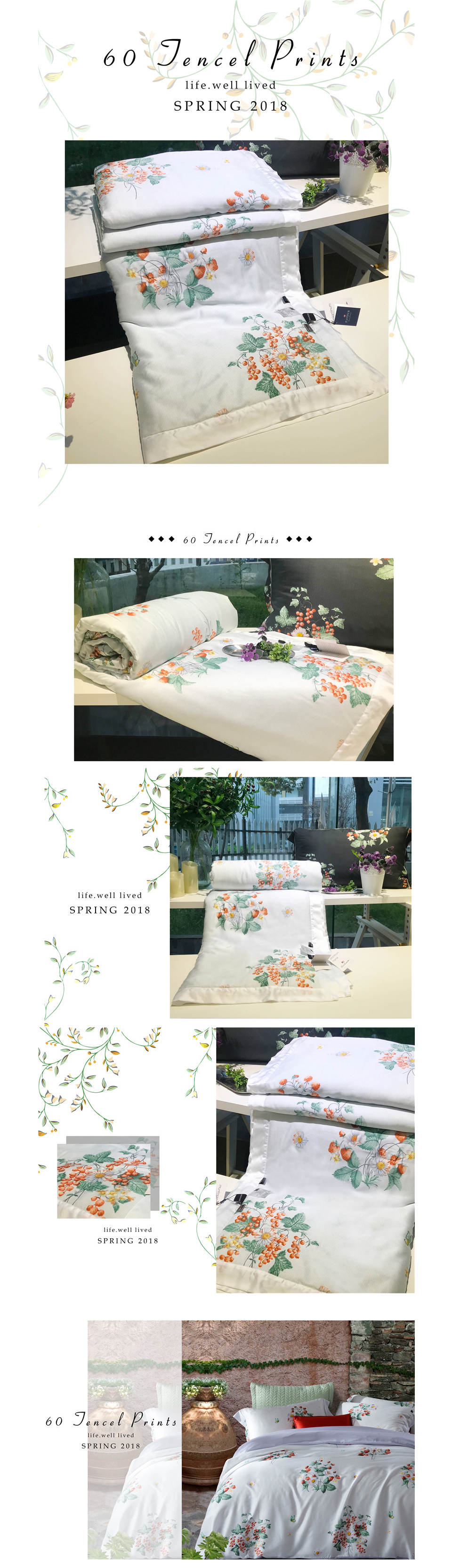 2018 summer comforter bedding set queen size 60s exquisite tencel cotton quilt lyocell fiber bed quilted pastoral flower printing process quilts 12