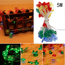 5M 50 LED Butterfly/Five Pointed Star String Light for Christmas Wedding Birthday Party Restaurants Bar Decorations(China)