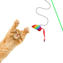 47.5x7.5x4.5cm Funny Cat Rods Interactive Toys Cat Teaser Stick Mouse Steel Wire Colourful Plush Pet Cat Toy Fun Play
